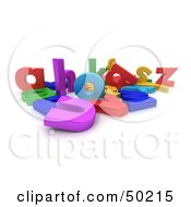 Royalty Free RF 3D Clipart Illustration Of A Jumbled Mess Of Colorful Letters