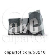 Royalty Free RF 3D Clipart Illustration Of Silver ABC Typset Blocks