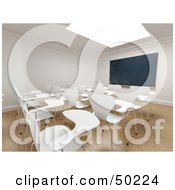 Royalty Free RF Clipart Illustration Of Empty White Seats Facing A Chalkboard In A Classroom