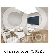 Royalty Free RF Clipart Illustration Of A Skylight Over A Classroom With White Desks And A Chalkboard