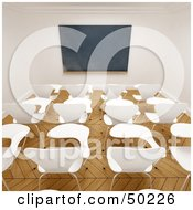 Royalty Free RF Clipart Illustration Of A Deserted Class Room With Desks And A Blank Chalkboard by Frank Boston
