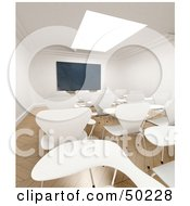 Royalty Free RF Clipart Illustration Of Rows Of White Desks Facing A Chalkboard In A Deserted Room