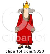 Crowned Woman Wearing A Red Queen Costume On Halloween Clipart