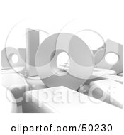 Royalty Free RF 3D Clipart Illustration Of Big White Letters