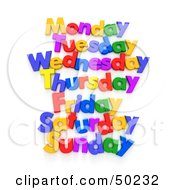 Royalty Free RF 3D Clipart Illustration Of A List Of Week Days Spelled Out With Colorful Letters