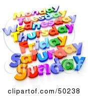 Royalty Free RF 3D Clipart Illustration Of Colorful Letters Spelling Out Week Days
