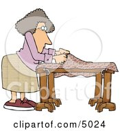 Woman Making A Unique Quilt Clipart