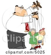 Puppeteer Man Controlling The People In His Life Concept Clipart