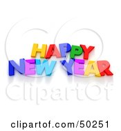 Royalty Free RF 3D Clipart Illustration Of A Colorful Happy New Year Letter Greeting by Frank Boston