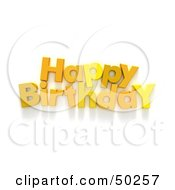 Royalty Free RF 3D Clipart Illustration Of A Yellow Happy Birthday Greeting