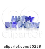 Royalty Free RF 3D Clipart Illustration Of A Blue Happy Birthday Greeting
