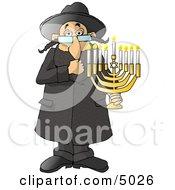 Poster, Art Print Of Religious Rabbi Jew Holding A Lit Jewish Menorah