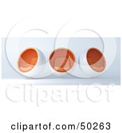 Royalty Free RF Clipart Illustration Of A Row Of Three White And Orange Cocoon Chairs Facing In Different Directions