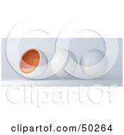 Royalty Free RF Clipart Illustration Of A Row Of Three White And Orange Cocoon Chairs One Facing Left