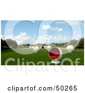 Royalty Free RF Clipart Illustration Of A Meadow With White And Red Cocoon Chairs by Frank Boston
