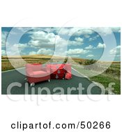 Royalty Free RF Clipart Illustration Of A Pile Of Luggage By A Red Chair In A Roadway