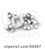 Royalty Free RF Clipart Illustration Of An Aerial View Of A White Chair Surrounded By Stacks Of White Books
