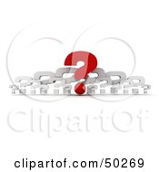 Royalty Free RF 3D Clipart Illustration Of A Red Question Mark With A Row Of White Ones by Frank Boston