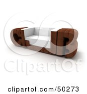 Royalty Free RF Clipart Illustration Of A Wooden CLUB Bench With A Seat In The U