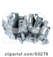 Royalty Free RF 3D Clipart Illustration Of A Group Of Typesetting Blocks With Lettesr Spelling PRINT