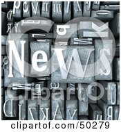 Royalty Free RF 3D Clipart Illustration Of A Background Of Silver Typesetting Blocks With NEWS On Top
