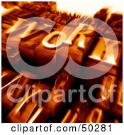 Royalty Free RF 3D Clipart Illustration Of An Orange Blurred Background Of Typesetting Blocks With WORK On Top