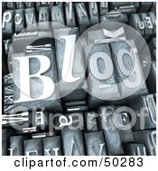 Royalty Free RF 3D Clipart Illustration Of A Background Of Silver Typesetting Blocks With BLOG On Top