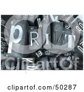 Royalty Free RF 3D Clipart Illustration Of A Background Of Silver Typesetting Blocks With PRINT On Top