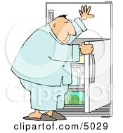 Hungry Overweight Man Looking Through The Refrigerator For Food