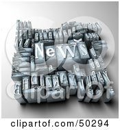 Royalty Free RF 3D Clipart Illustration Of A Group Of Typesetting Letter Blocks With The Word NEWS On Top