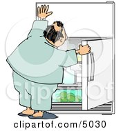 Humorous Obese Man Looking For Something To Eat In The Fridge Clipart