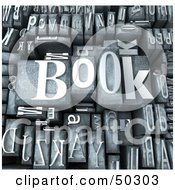 Royalty Free RF 3D Clipart Illustration Of A Background Of Silver Typesetting Blocks With BOOK On Top