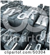 Royalty Free RF 3D Clipart Illustration Of A Background Of Silver Typesetting Blocks With WORK On Top