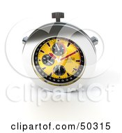 Royalty Free RF 3D Clipart Illustration Of A Yellow And Chrome Chronometer Watch