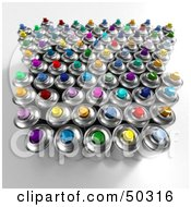Group Of Colorful Spray Paint Cans