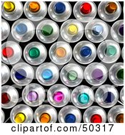 Royalty Free RF 3D Clipart Illustration Of A Background Of Colorful Aerosol Cans by Frank Boston