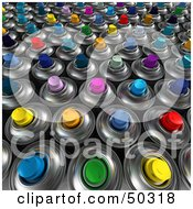 Royalty Free RF 3D Clipart Illustration Of A Background Of Colorful Aerosol Spray Paint Cans by Frank Boston