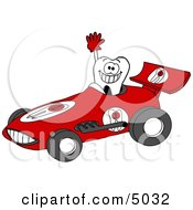 Happy, Healthy Tooth Driving a Race Car Clipart