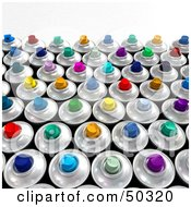 Royalty Free RF 3D Clipart Illustration Of A Crowd Of Colorful Spray Paint Cans