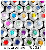 Background Of Colorful Aerosol Spray Cans