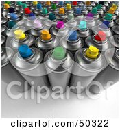 Royalty Free RF 3D Clipart Illustration Of A Group Of Lined Up Spray Paint Cans