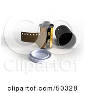 Royalty Free RF 3D Clipart Illustration Of A Film Canister And Lid by Frank Boston