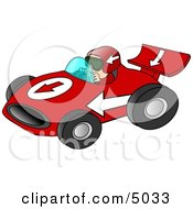 Man Driving A Fast Race Car Down A Speedway Clipart