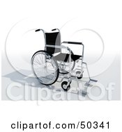 Royalty Free RF 3D Clipart Illustration Of A Black Empty Wheelchair by Frank Boston