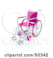 Royalty Free RF 3D Clipart Illustration Of A Pink Empty Wheelchair by Frank Boston