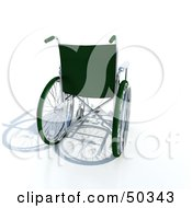 Royalty Free RF 3D Clipart Illustration Of The Back Of A Green Empty Wheelchair by Frank Boston
