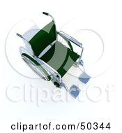 Royalty Free RF 3D Clipart Illustration Of A Green Empty Wheelchair by Frank Boston