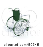 Royalty Free RF 3D Clipart Illustration Of A Green Wheelchair by Frank Boston