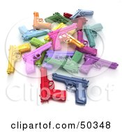 Royalty Free RF 3D Clipart Illustration Of A Stash Of Colorful Toy Guns Angle 2