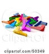 Royalty Free RF 3D Clipart Illustration Of A Stash Of Colorful Toy Guns Angle 4